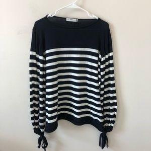 Zara Knit Navy White Striped Sweater - Size S